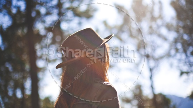 Girl in Fedora Staring at the Sun Christian Stock Photo