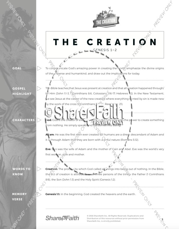 Genesis 1&2 Creation Story Sunday School Curriculum
