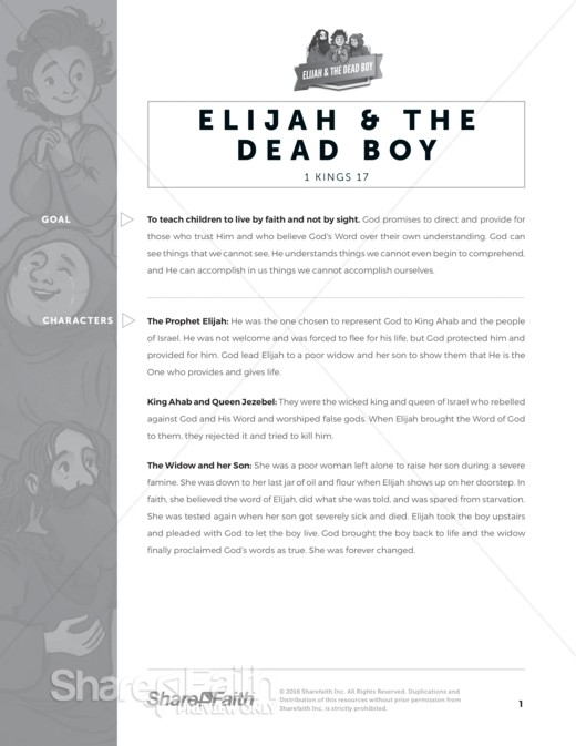 1 Kings 17 Elijah and the Widow Sunday School Curriculum