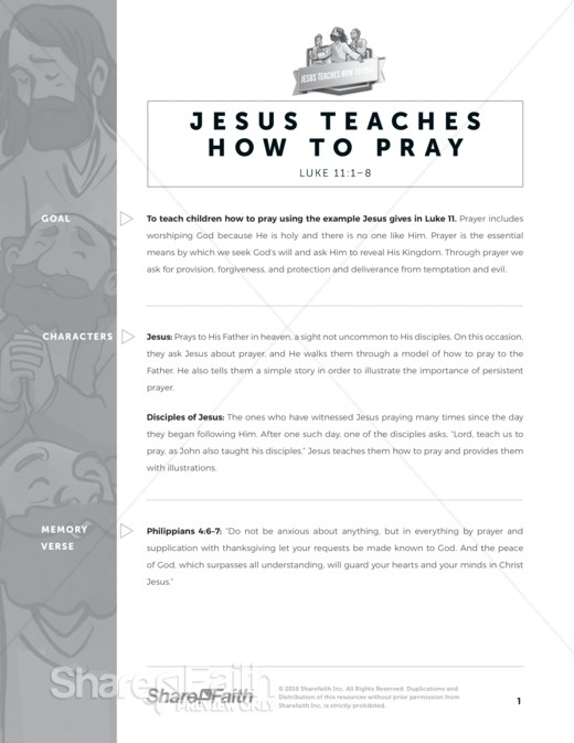 Luke 11 The Lord&rsquo s Prayer Sunday School Curriculum