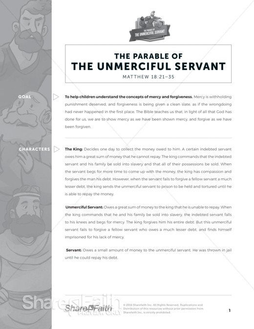 Matthew 18 Parable of the Unforgiving Servant Sunday School Curriculum