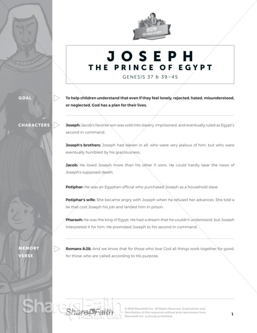 Story of Joseph Sunday School Curriculum