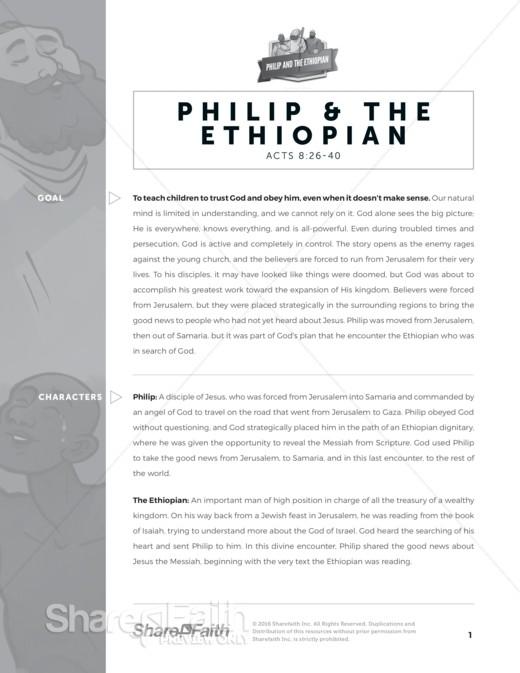 Acts 8 Philip and the Ethiopian Sunday School Curriculum