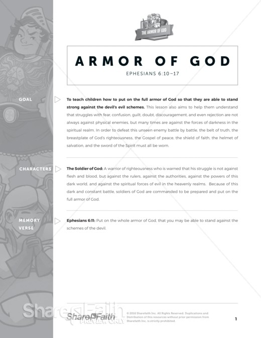 Ephesians 6 Armor of God Sunday School Curriculum