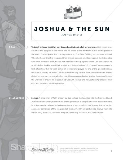 Joshua 10 Sun Stand Still Sunday School Curriculum