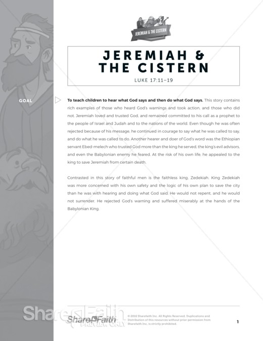 The Prophet Jeremiah Sunday School Curriculum