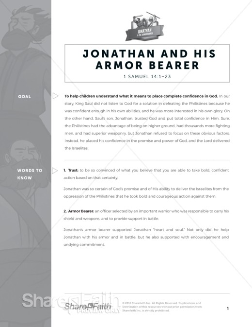 1 Samuel 14 Jonathan and his Armor Bearer Sunday School Curriculum