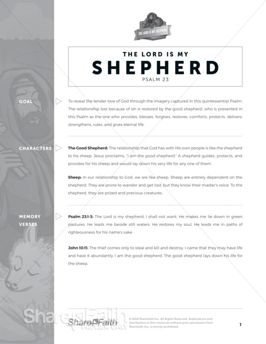 Psalm 23 The Lord Is My Shepherd Sunday School Curriculum