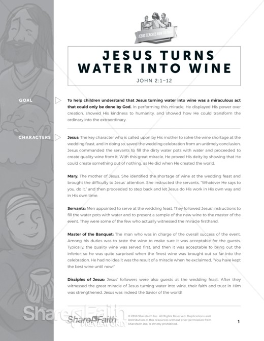 John 2 Jesus Turns Water Into Wine Sunday School Curriculum