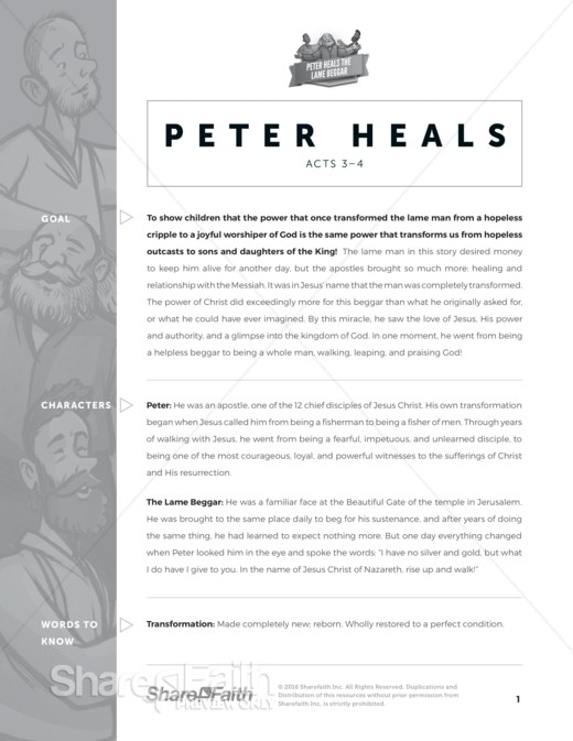Acts 3 Peter Heals Sunday School Curriculum