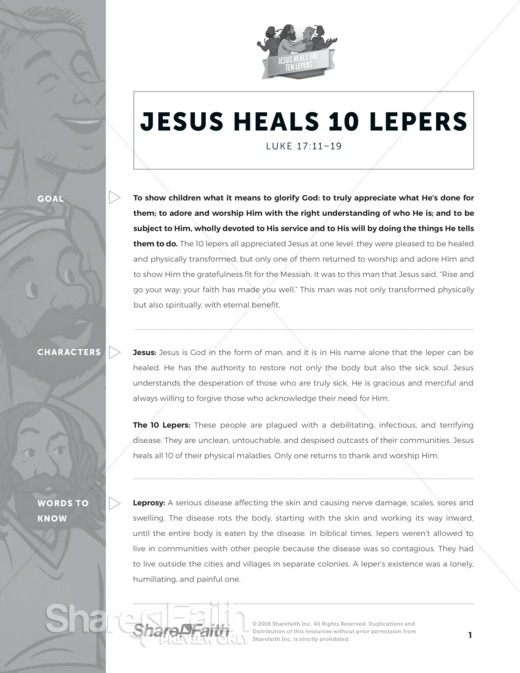 Luke 17 Ten Lepers Sunday School Curriculum
