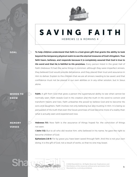Hebrews 11 Saving Faith Sunday School Curriculum