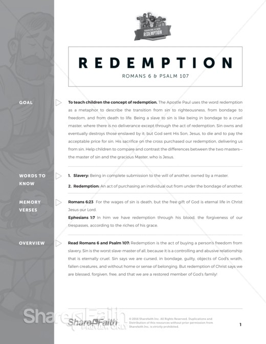 Romans 6 Redemption Sunday School Curriculum