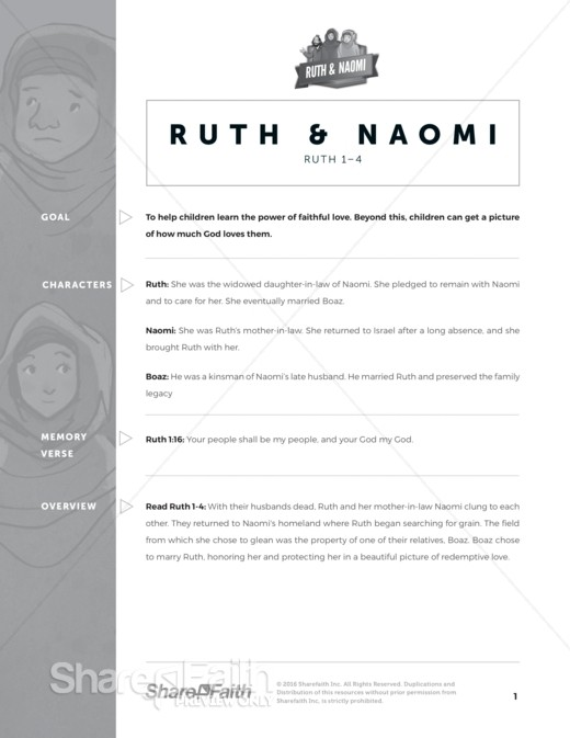 Ruth and Naomi Sunday School Curriculum