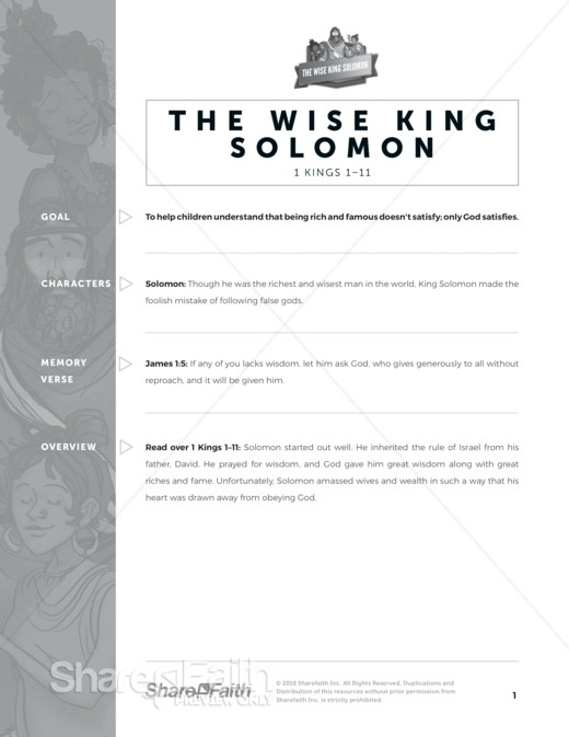 1 Kings Wisdom of Solomon Sunday School Curriculum