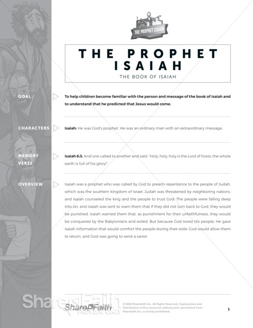 The Prophet Isaiah Sunday School Curriculum