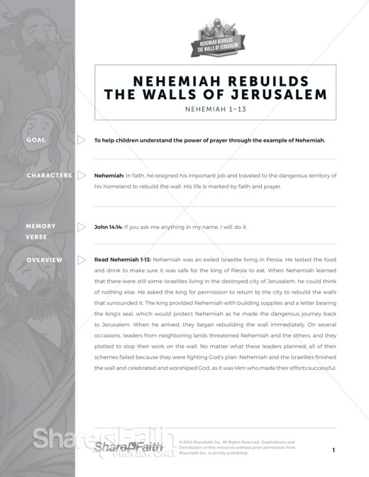 Book of Nehemiah Sunday School Curriculum