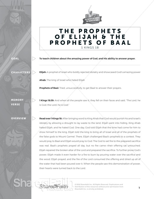 1 Kings 18 Elijah the Prophet Sunday School Curriculum