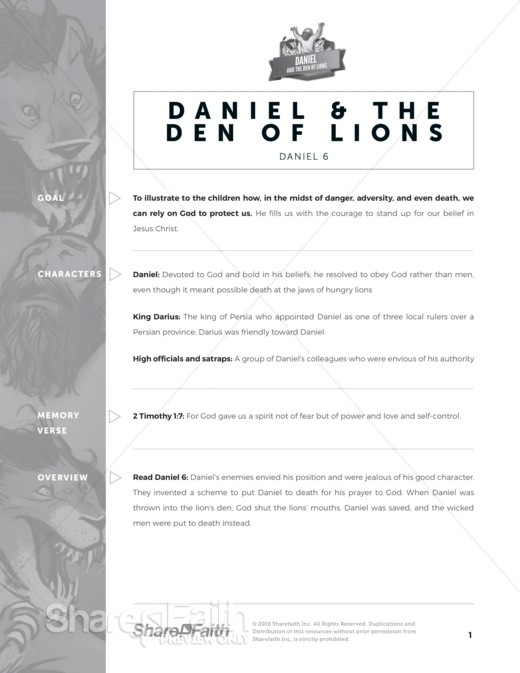 Daniel and the Den of Lions Curriculum
