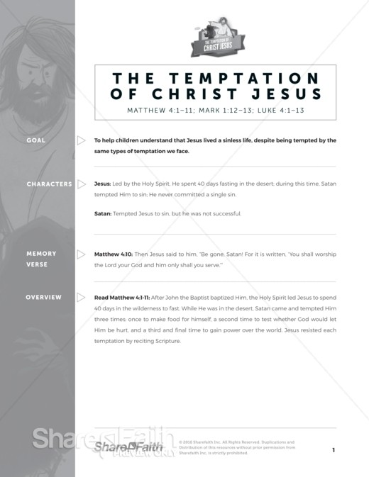 Matthew 4 Jesus Tempted Sunday School Curriculum