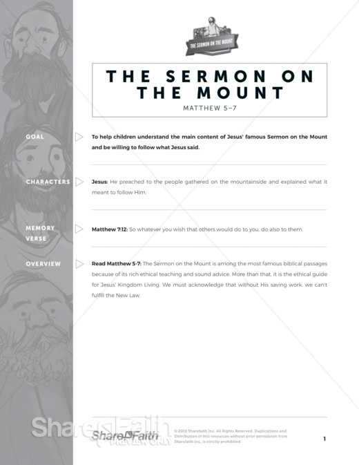 Sermon on the Mount (Beatitudes) Sunday School Curriculum