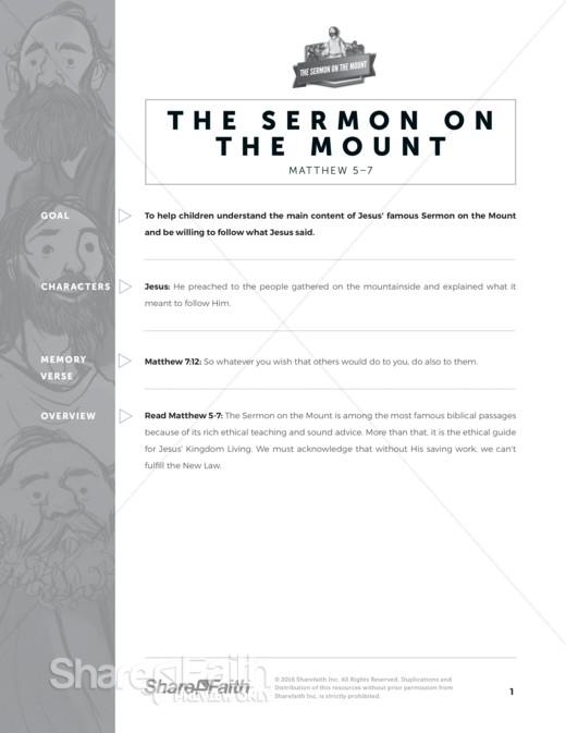 Sermon on the Mount (Beatitudes) Sunday School Curriculum