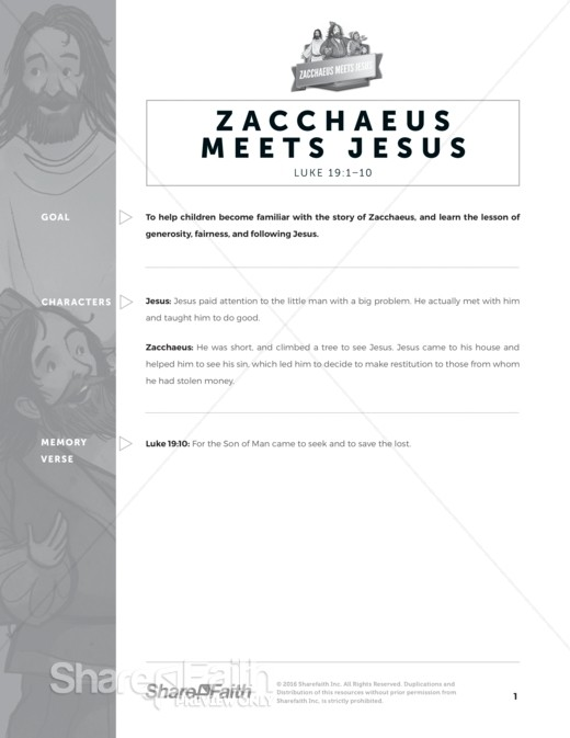Luke 19 Story of Zacchaeus Sunday School Curriculum