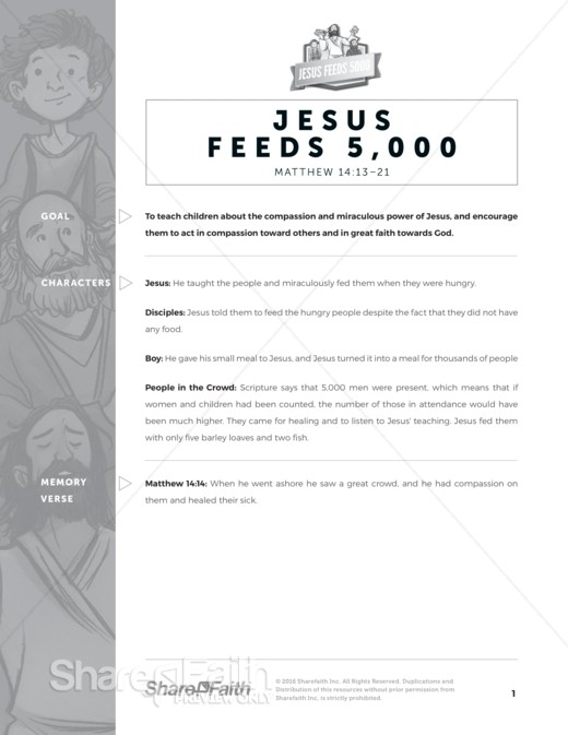 Matthew 14 Jesus Feeds 5000 Sunday School Curriculum