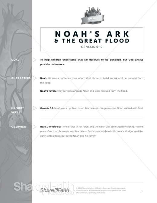 Genesis 7 Noahs Ark Sunday School Curriculum