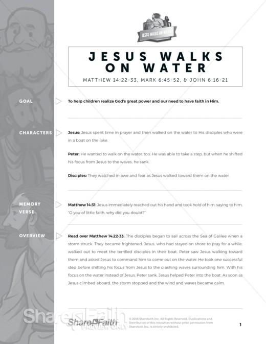 Matthew 14 Jesus Walks on Water Sunday School Curriculum