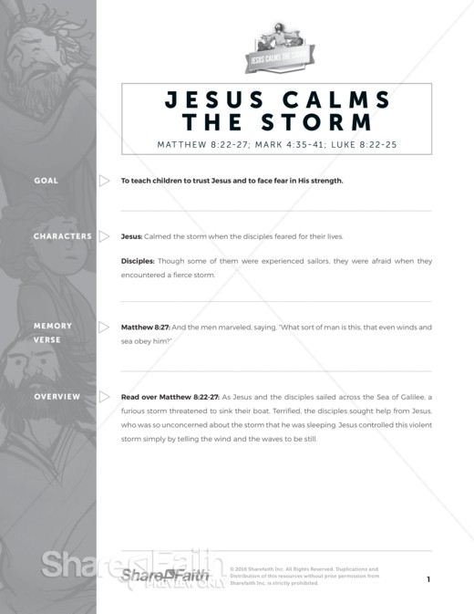 Matthew 8 Jesus Calms the Storm Sunday School Curriculum