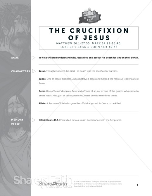 The Jesus Crucifixion Sunday School Curriculum