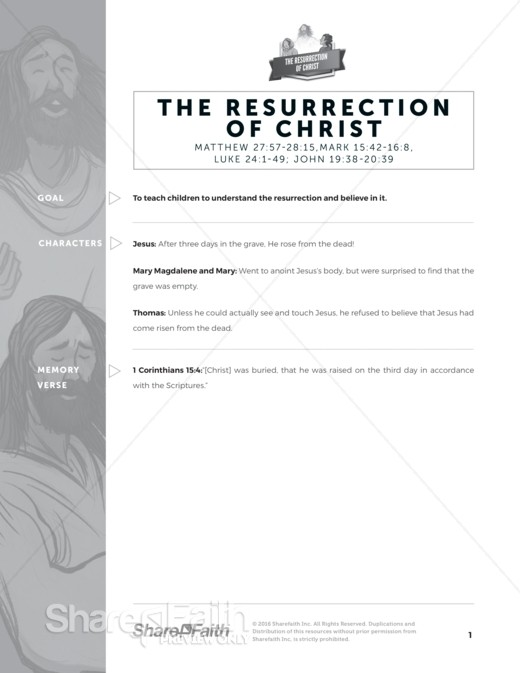 The Jesus Resurrection Sunday School Curriculum