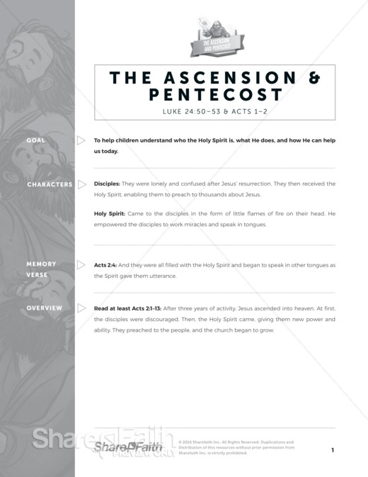The Ascension and Pentecost Sunday School Curriculum