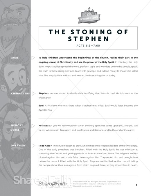 The Acts 7 The Stoning of Stephen Sunday School Curriculum