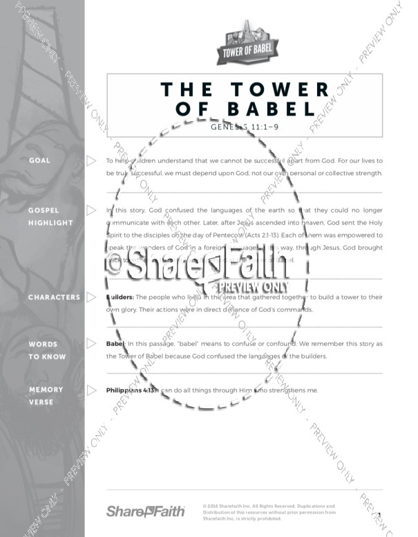 Genesis 11 Tower of Babel Sunday School Curriculum