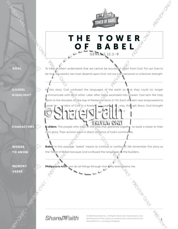 Genesis 11 Tower of Babel Sunday School Curriculum