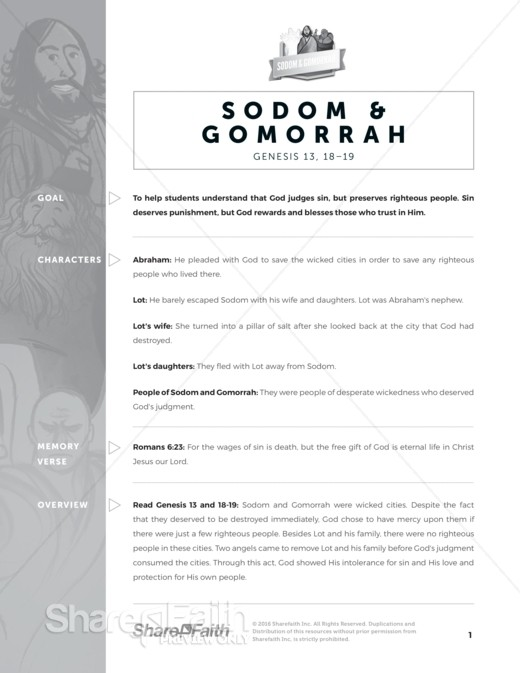 Genesis 18 & 19 Sodom and Gomorrah Sunday School Curriculum