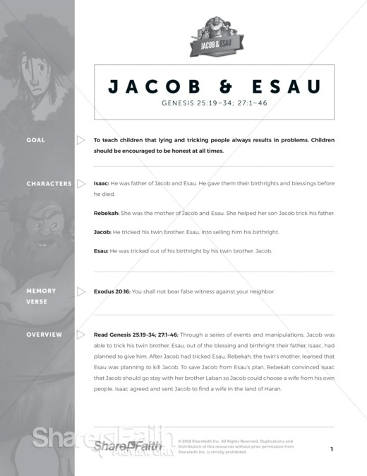 Genesis 25 Jacob and Esau Sunday School Curriculum
