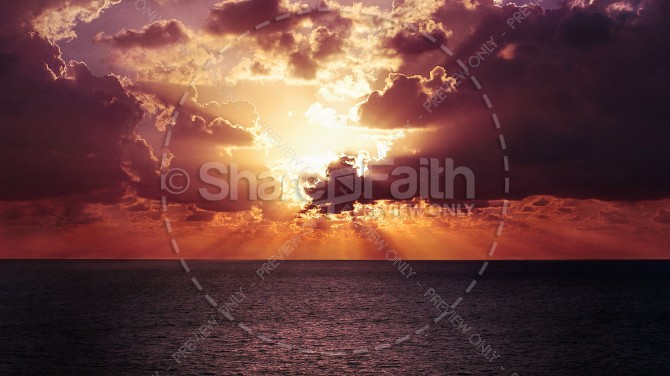 Sunset Cloudbreak Christian Stock Photo