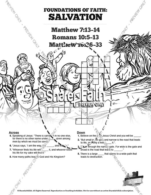 Matthew 7 Plan of Salvation Sunday School Crossword Puzzles
