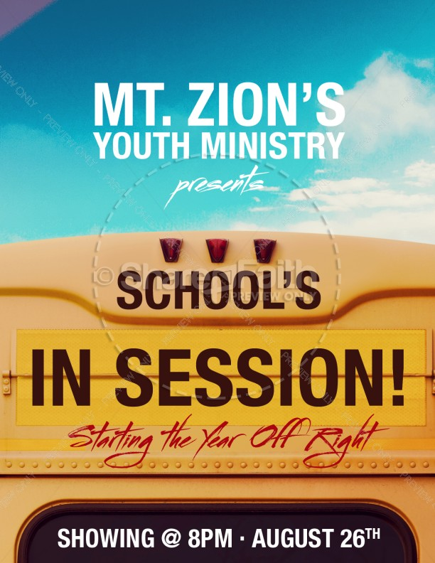 Back to School Bus Church Flyer Template
