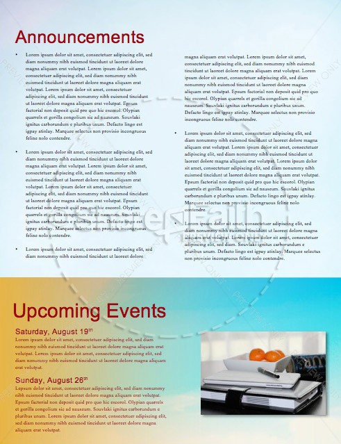 Back to School Bus Church Newsletter Template