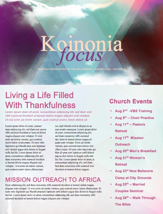 Worship Encounter Church Newsletter