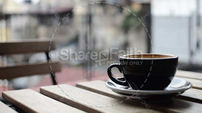 Cup of Coffee on a Table Christian Stock Image