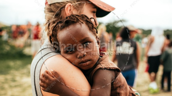 Christian Missionary Holding Child Religious Stock Photo