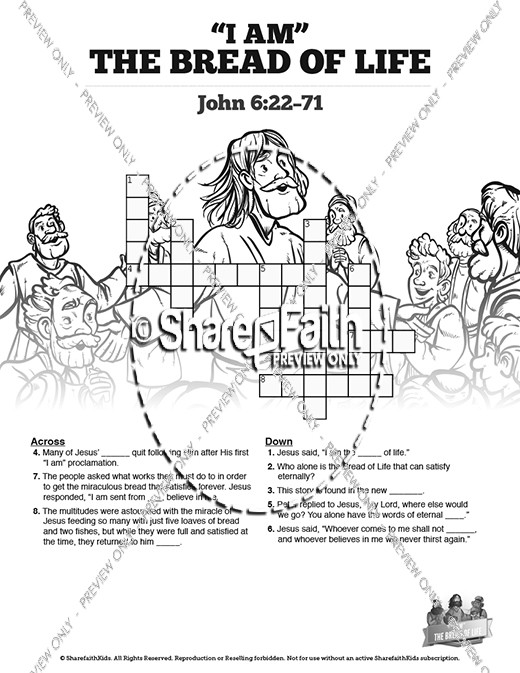 John 6 Bread of Life Sunday School Crossword Puzzles