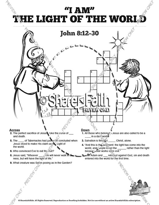 John 8 Light Of The World Sunday School Crossword Puzzles