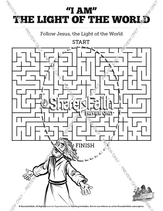 John 8 Light Of The World Bible Mazes