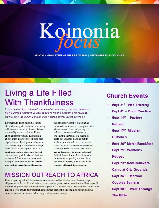 Fall Ministry Church Newsletter Template